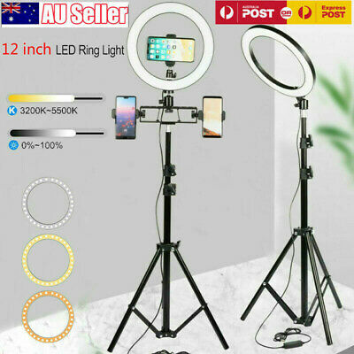 AU24.59 • Buy 12  LED Ring Light Dimmable Lighting Kit Phone Selfie Tripod Stand Youtube Live