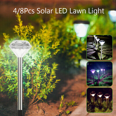 4pcs Pack Of 4 Solar Garden Patio Lights Stainless Steel Stake Diamond Lanterns • 4.05£