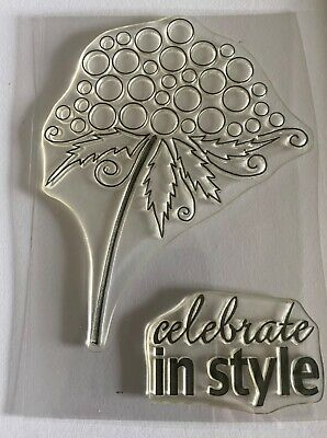 Clear Rubber Stamps: 'Celebrate In Style' & Flower • 0.99£