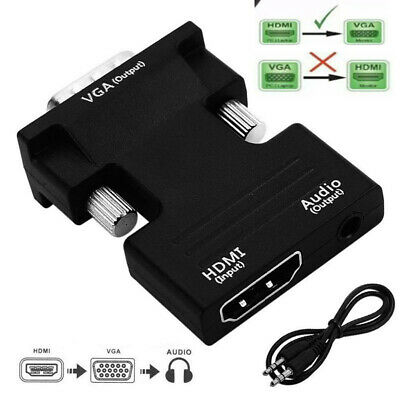 £3.99 • Buy 1080P HDMI Female To VGA Male With Audio Output Cable Converter Adapter Lead