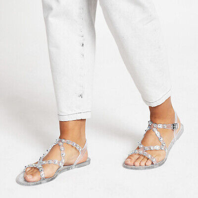 River Island Clear Diamante Jelly Sandals UK Size 4 • 3.50£