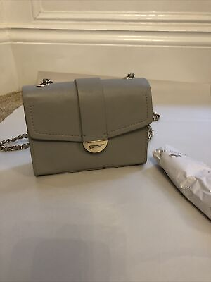 PAUL COSTELLOE The Tutu Small Crossbody Grey Real Leather Gold Chain Bag • 25£