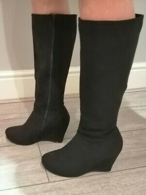 Pavers Black Knee High Wedge Boots Size 5 • 10£