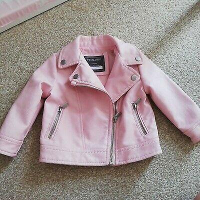 Baby Girl Pink Faux Leather Biker Jacket Coat In Size 6-9 Months • 7£