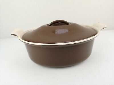 Vintage Oval Brown Cousances Le Creuset Cast Iron Lidded Casserole Dish 26 VGC • 42£