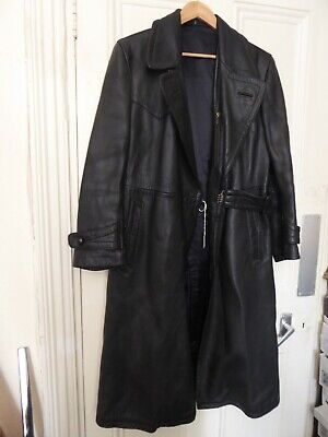 WW2 Original German Officers Saddle Leather Coat, Black • 150£