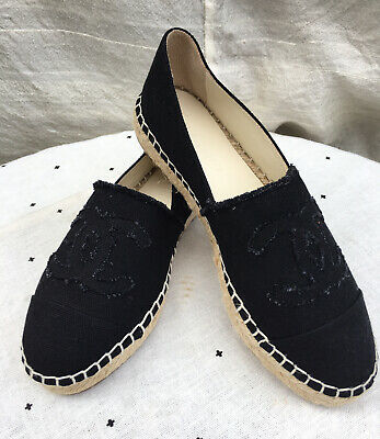AU550 • Buy CHANEL Black Canvas Espadrilles 37 BNWOT!!
