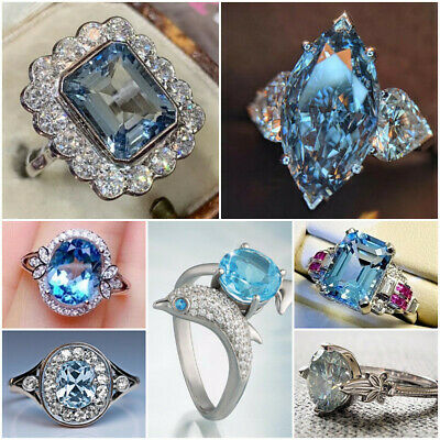 AU2.82 • Buy Multi-color 925 Silver Rings For Women Aquamarine Jewelry Gift Size 6-10