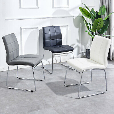2 4 6 Dining Chairs Faux Leather Padded Seat Chrome Legs Living Room Kitchen • 179.96£
