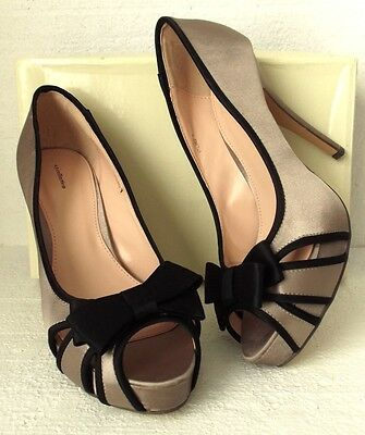 NEW VT 1950s Pin Up Style Taupe/Black Satin Bow Platform Court Shoes UK Size 7 • 25£