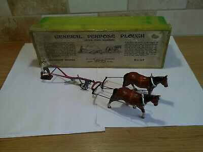 Britains Vintage Farm Lead Horses And Plough 6F Good Condition In The Old Box... • 129.99£
