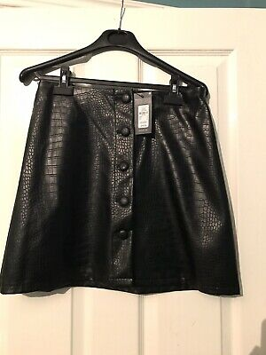 Primark Faux Leather Pu Croc Black Button Skirt 12 • 1.99£