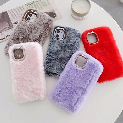 Soft Warm Plush Fluffy Phone Case Cover Comfy Faux Fur For IPhone 12 11 Pro Max • 2.99£