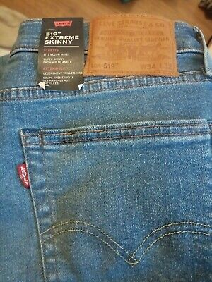 LEVI's PREMIUM 519 EXTREME SKINNY LIGHT BLUE W34 X L32 *NEW WITH TAGS • 45£
