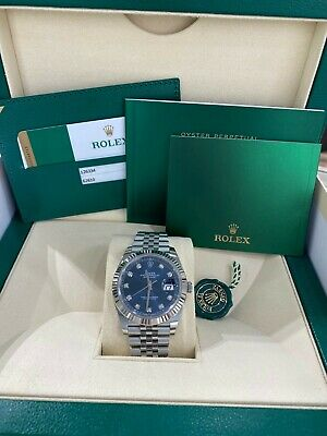 $ CDN16840.92 • Buy Rolex Datejust 41 126334 Blue Diamond Dial Stainless Steel Box Papers 2019