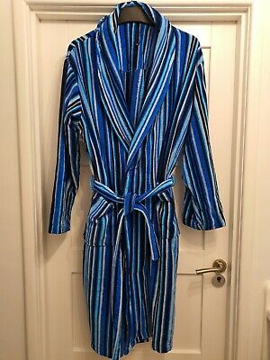 Blue Striped Velour Dressing Gown - Lounge & Sleep  • 25£