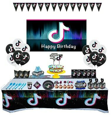 Tik Tok Theme Birthday Party Decoration Supplies Cup Plate Banner + More UK • 4.95£