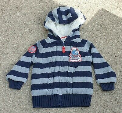 Thomas The Tank Engine Hooded Cardigan Fleece Knitted Zip Jacket Age 2-3 Years • 14£