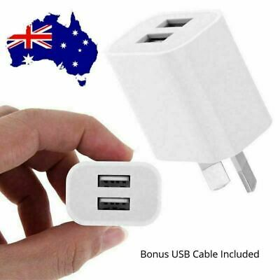 AU14.90 • Buy Dual Port USB Wall Charger AU Plug Power Adapter Cable For IPhone 6 7 8 XS XR 11