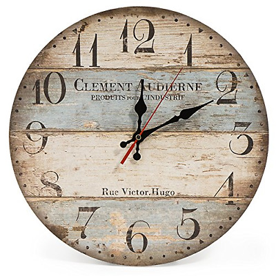 LOHAS Home 30cm Silent Wooden Round Wall Clock, 12  Vintage Rustic Shabby Chic • 14.45£