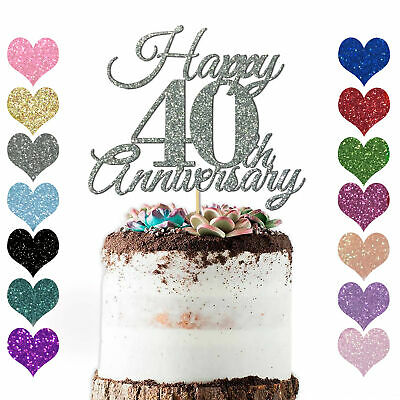 Personalise Year Love Happy Wedding Anniversary Cake Topper 10th 20 25 30 40 50 • 2.98£