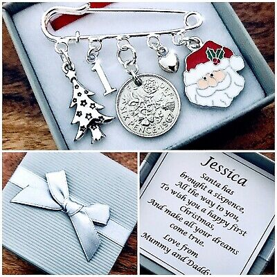 LUCKY SIXPENCE Charm, FIRST (1st) CHRISTMAS Gift, Santa, PERSONALISED Gift Box • 4.49£