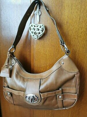 M&S Autograph 100% Leather Tote Hobo Shoulder Bag Handbag Tan Medium Sized • 3.95£