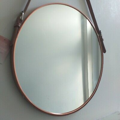 Rose Gold Round Industrial Style Leather Strap Hanging Wall Mirror 40 Cm New  • 28.50£