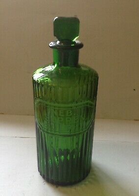 Green Glass Ribbed Chemist Bottle With Label In Latin. • 15£