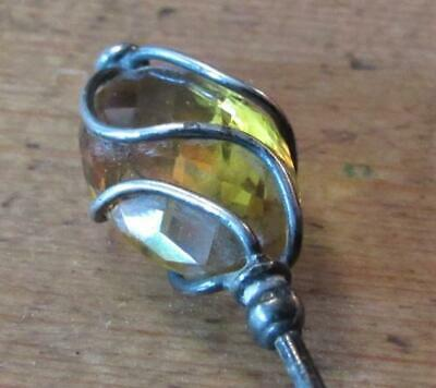 Beautiful Edwardian Hat With Yellow/Orange Faceted Stone Encased In Silver. • 21£