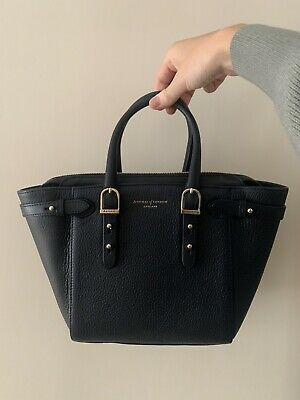 Genuine Aspinal Of London MIDI Marylebone Leather Tote Bag In Midnight RRP £650 • 220£