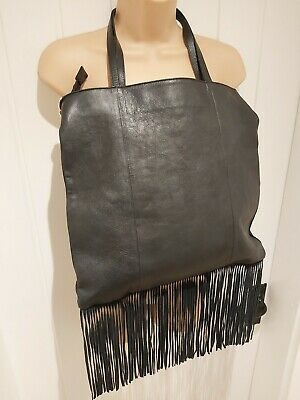 💕 River Island Black Thick Real Leather/suede Large Fringed Tote Bag Rrp£69 Vgc • 41.99£