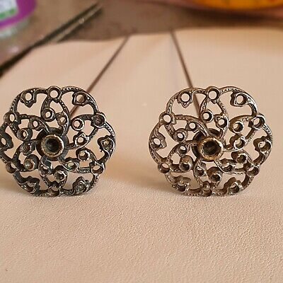 Two Matching Antique Silver Coloured Hatpins • 35£