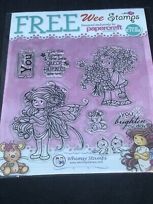 Whimsy Wee Stamps Clear Stamp Set - Fairy Girl Flowers Mouse Sentiments Etc • 1.99£