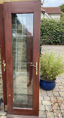 Wooden French Patio Doors, Brown, With Handles, Hinges And Locks • 28£