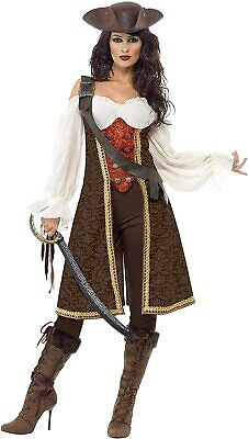 Smiffys High Seas 'Pirate Wench' Costume, Brown, S - UK Size 8-10 • 9.99£