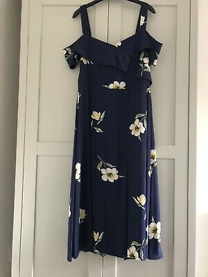 Warehouse Navy Floral Bardot Midi Dress Size 16 • 7.50£