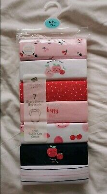 BNWT Baby Girl Pack Of 7 Vests 6-9 Months • 2.30£