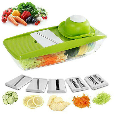 5 In 1 Mandolin Vegetable Food Slicer Julienne And  Container-Peel Cut Slice • 11.52£