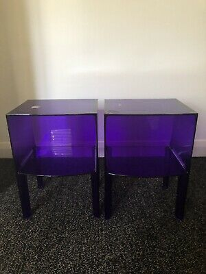 AU50 • Buy Two Kartell From Space Furniture Purple Perspex Side Tables - Unique Pieces