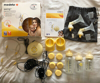 View Details Medela Swing Electric Breast Pump With Accessories Plus Calma Bottles • 10.00£