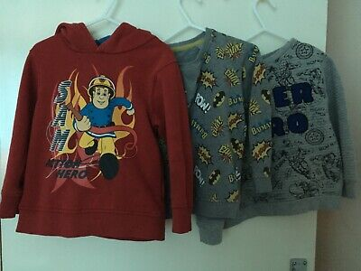 Autumn Winter 3/4 Boys Hoodie Bundle Fireman Sam Batman Iron Man Jumper • 7£