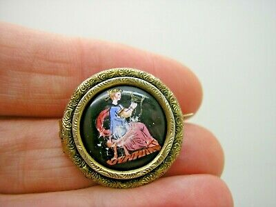 Antique Georgian Silver Hand Painted Enamel On Porcelain Lace Pin Brooch • 9.99£