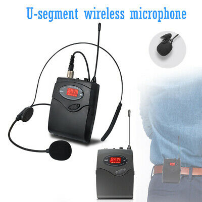 UHF Wireless Microphone System Recharage Head-Mounted Mic Receiver Transmitter • 19.49£