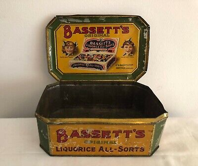 BASSETTS LIQUORICE ALLSORTS Very Rare Large Old Vintage Sweet Tin! • 78£
