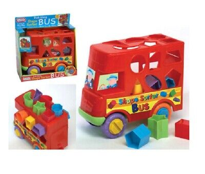 New Shape Sorter Sorting Bus Baby Toddler Activity Push Along Toy 12 Months Up • 8.99£