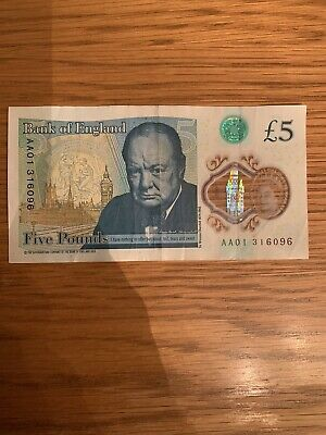 AA01 Bank Of England Five Pound Note - Good Condition • 4.99£