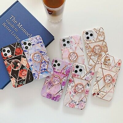 AU10.66 • Buy For IPhone 12 Mini Pro Max Case Plated Marble Rose Flower Cover With Ring Holder