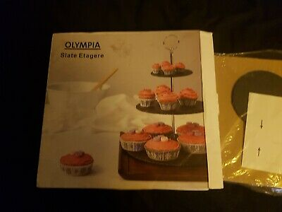 Olympia 3 Tier Cake Stand, Slate. Brand New In Box. • 2.49£