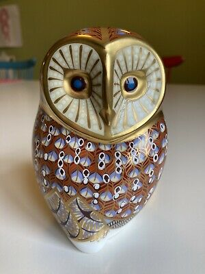 Royal Crown Derby Barn Owl Paperweight: Fine Bone China, Gold Stopper, Vgc • 40£